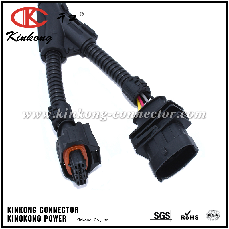automotive wiring harness with 6 pin deutsch connector and