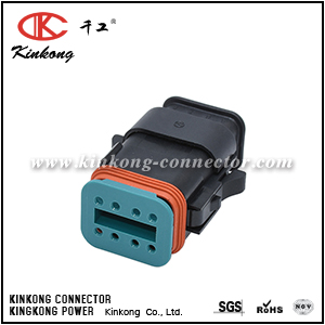 AT06-08SB-SR01 8 POSITION PANEL MOUNT RECEPTACLE WITH ENDCAP, PIN, WITH GASKET. KEY POSITION B